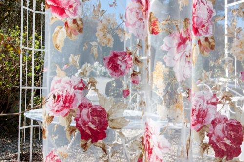 Rosenstoff Voile Romantic Rose