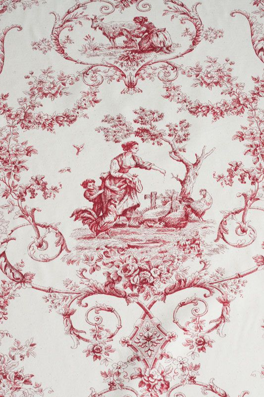 toile de jouy stoff grimaud rouge romantisch wohnen. Black Bedroom Furniture Sets. Home Design Ideas