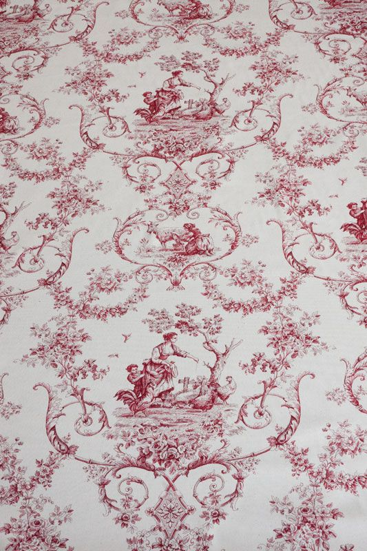 toile de jouy stoff grimaud rouge landhausstoffe toile de jouy shabby chic french country. Black Bedroom Furniture Sets. Home Design Ideas